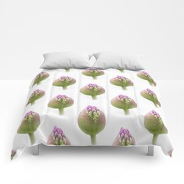 Pink Flower Bud White Background #decor #society6 #buyart Comforters