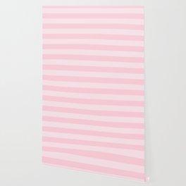 Light Soft Pastel Pink Cabana Tent Stripes Wallpaper