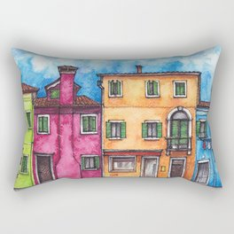 Burano ink & watercolor illustration Rectangular Pillow