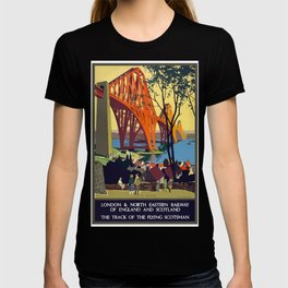 Vintage Travel Poster North Bridge Nature Painting London in England T-shirt