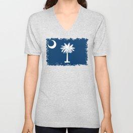 Flag of South Carolina - High Quality image Unisex V-Neck