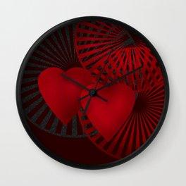 Love. The loving hearts .Black background . Wall Clock