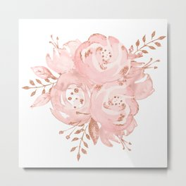 Roses Rose Gold Glitter Pink by Nature Magick Metal Print