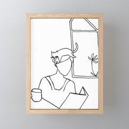 woman reading with cat fascinator Framed Mini Art Print