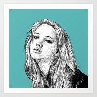 jennifer lawrence Art Prints featuring Jennifer Lawrence by Sharin Yofitasari