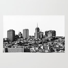 city view at San Francisco in black and white Rug