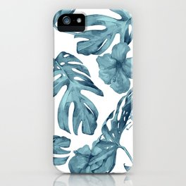 Teal Blue Tropical Palm Leaves Flowers iPhone Case