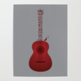 Classical Notation - Cherry Red Poster