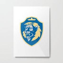 Angry Lion Head Roar Shield Retro Metal Print
