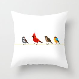 Little birds. Spring. Throw Pillow