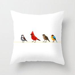 Little birds. Spring. Throw Pillow