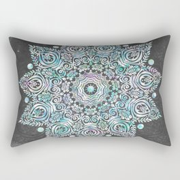 Mermaid Mandala on Deep Gray Rectangular Pillow
