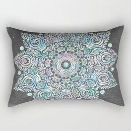 Mermaid Mandala on Deep Gray Rectangular Pillow