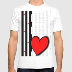 Black and white meets red Version 21 White Mens Fitted Tee MEDIUM