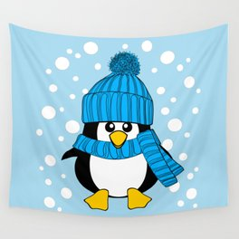 Cute Baby Penguin with Blue Hat Wall Tapestry
