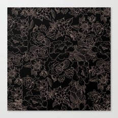 Pink coral tan black floral illustration pattern Canvas Print