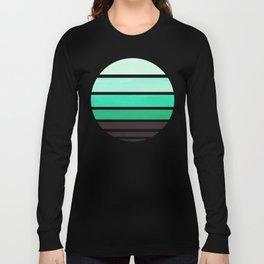 Teal Turquoise Mid Century Modern Minimalist Circle Round Photo Staggered Sunset Geometric Stripe De Long Sleeve T-shirt