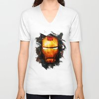 iron man V-neck T-shirts featuring Iron Man by Sirenphotos