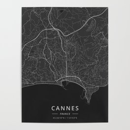 Cannes, France - Dark Map Poster
