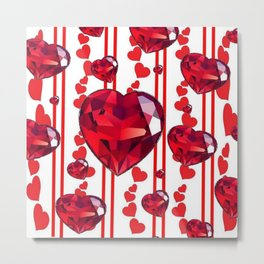 RED VALENTINES & RUBY HEARTS  DESIGN Metal Print