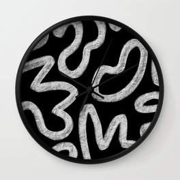 Faded Black and White Minimal Abstract Wall Clock