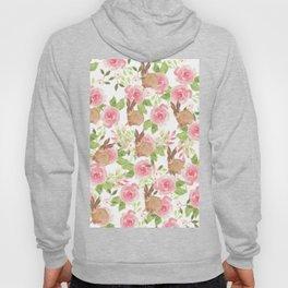 Pink brown watercolor roses floral bunny rabbit Hoody