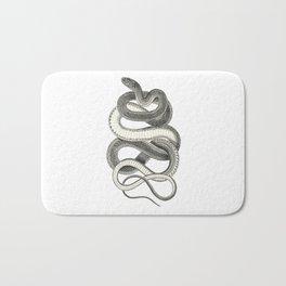 snake vintage style print serpent black and white 1800's Bath Mat