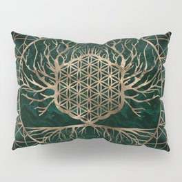 Flower of Life in Tree of life Malachite and Gold Pillow Sham