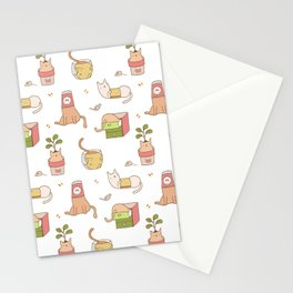 Naughty cats in small containers Stationery Cards