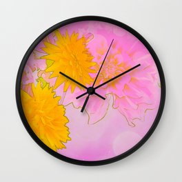 Pink & Gold Floral Wall Clock