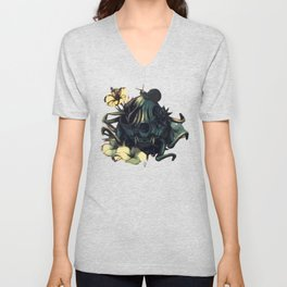 The skull, the flowers and the Snail Warm Unisex V-Neck