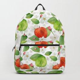 Watercolor apples pattern Fruits illustration Kitchen print Green decor art Backpack