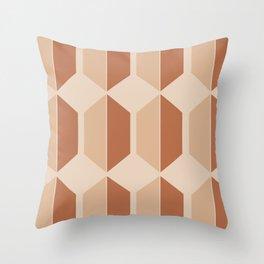 Hexagonal Pattern VII Terracotta Throw Pillow