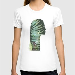 Face silhouette in floral light green tones T-shirt