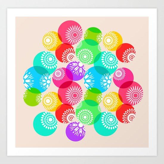 Sweet rainbow floral Art Print