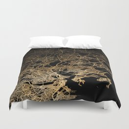 Boston map Duvet Cover