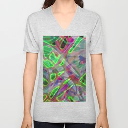 Colorful Abstract Stained Glass G300 Unisex V-Neck