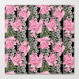 Gentle roses on a lace background. Canvas Print