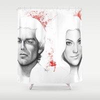 dexter Shower Curtains featuring Dexter and Debra by Olechka