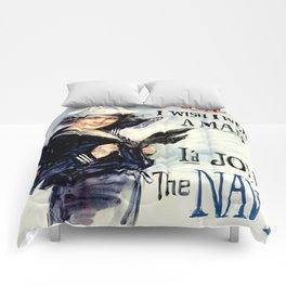 Vintage U.S. Navy Recruitment Poster Comforters