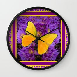 DECORATIVE LILAC-YELLOW FRAMED BUTTERFLY Wall Clock