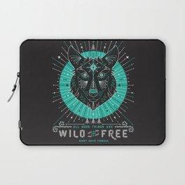 Wild & Free Wolf – Turquoise & Grey Laptop Sleeve