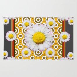 Charcoal Grey White Shasta  Daisy Patterns Brown Art Rug