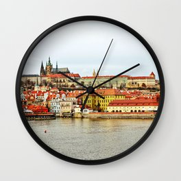 Vltava river and Prague Castle panorama Wall Clock