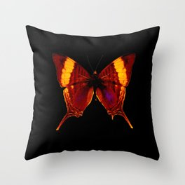 Butterfly - Vibrant Glow - Orange Brown Yellow Black Throw Pillow