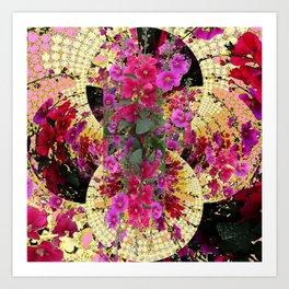 CORAL PINK & HOLLYHOCKS ABSTRACT GARDEN Art Print