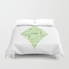 Sims Plumbob Typography Duvet Cover
