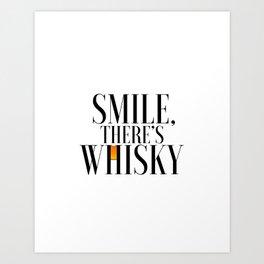 Happy Poster Whiskey Bar Decor Whiskey Poster Whiskey Art Whiskey Cocktail Smile there's Whiskey Art Print