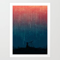 universe Art Prints featuring Meteor rain by Picomodi