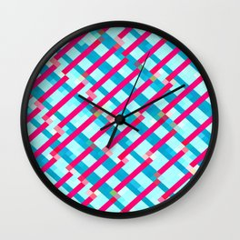 geometric pixel square pattern abstract background in blue pink Wall Clock